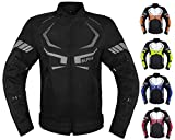MOTORCYCLE JACKET MENS CE ARMORED BIKERS RIDING RACING WATERPROOF ALL SEASON JACKET (BLACK, MEDIUM)