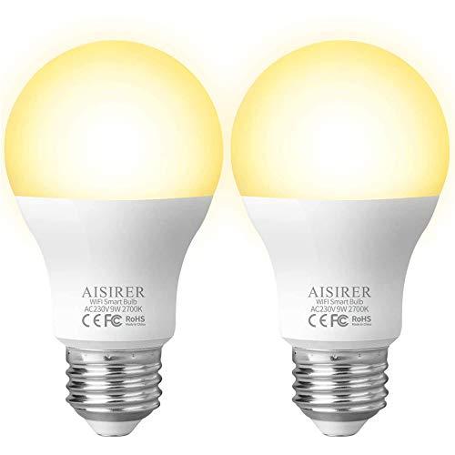 AISIRER Bombilla Inteligente Bombillas LED WiFi 9W 806LM...
