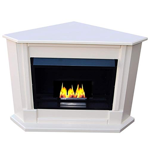 Ethanol Corner fireplace Model Moskau Select the color of the fire place (White)