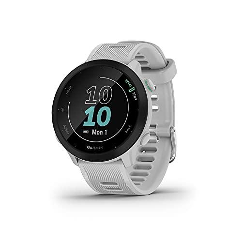 Garmin Forerunner 55 (Whitestone), Smartwatch running con GPS, Cardio, Piani di allenamento inclusi, VO2max, Allenamenti personalizzati, Garmin Connect IQ