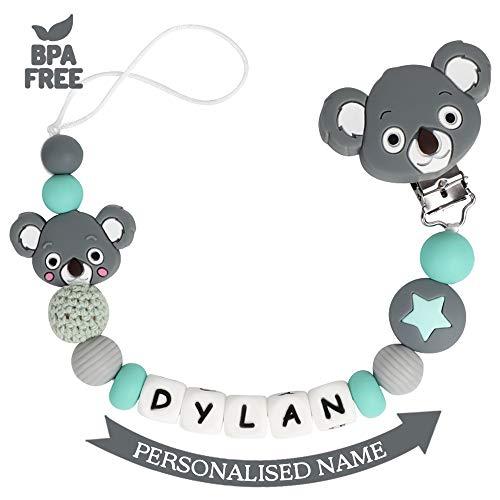 Schnullerkette mit Namen Junge Mädchen Schnuller Clip Personalisierte Schnuller Dummy Clips Silikon Perlen Koala Beißring BPA Frei für Babys (Dunkel Grau)