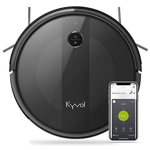 KYVOL Aspirateur Robot avec Aspiration Puissante, Autonomie de 150min, Carpet Boost, Barrières Virtuelles, Programmation, Silencieux, Mince, 600ML Réservoir, 2.4Ghz Wi-Fi, E20 Noir