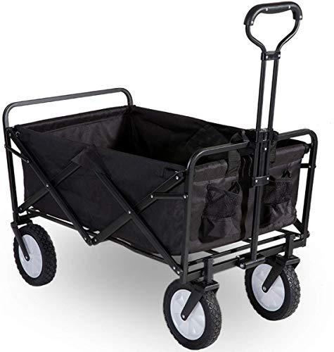 Flieks Bollerwagen Faltbar Handwagen, Transportwagen Klappbar Gartenwagen 360 ° drehbar Picknickwagen Strandwagen belastbar bis 150kg (Schwarz)