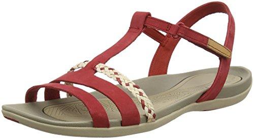 Clarks Tealite Grace, Sandalias con Tira Vertical para Mujer, Rojo (Red Nubuck), 39 EU
