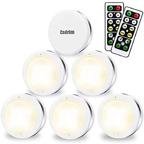Luci Armadio LED, Cadrim 6 Luci Notturne a LED Senza Fili,con 2 Telecomandi, Luce dell'armadio Luminosit Regolabili, Luci a Batteria (Non incluso), per Illuminazione dell'armadio,Vetrine, Armadio ecc