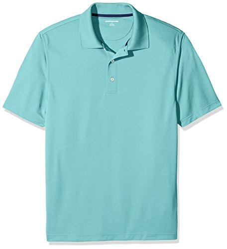 Amazon Essentials Men's Regular-Fit Quick-Dry Golf Polo Shirt, Aqua, Large