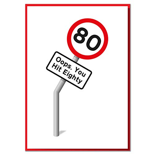 Oops. You Hit 80. Funny 80th Birthday Road Sign Card