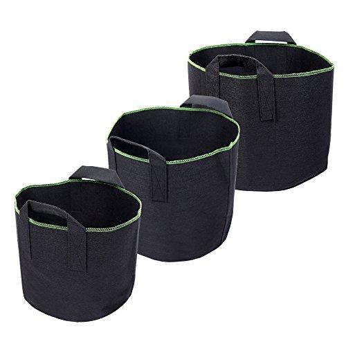 Schramm® 3er Pack Pflanzsäcke aus Vliesstoff 15, 20, 30 Liter Pflanzstock 3 Stück Garten Sack aus Fliesstoff zum Bepflanzen Pflanzgefäß Pflanzbehälter Pflanzbeutel