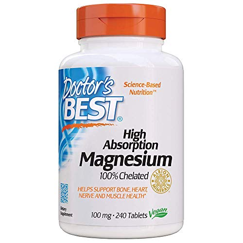 Doctor's Best High Absorption Magnesium Glycinate Lysinate, 100% Chelated, TRACCS, Not Buffered, Headaches, Sleep, Energy, Leg Cramps, Non-GMO, Vegan, Gluten Free, Soy Free, 100 mg, 240 Tablets