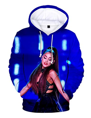 3D Print Trend Singer Ariana Grande Hoodie for Women,Ariana Grande Thank you, Next Hoodie Pullover Full Color Long Sleeve for Girl Woman (B,S)
