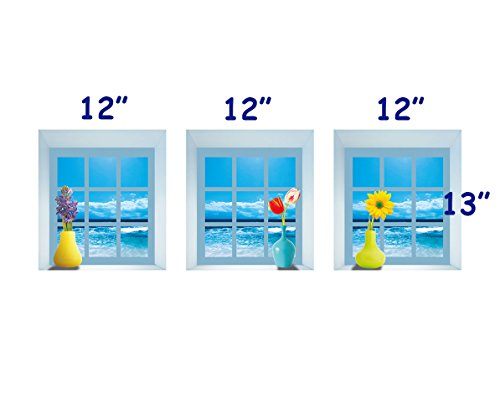 DNVEN 12 inches x 13 inches x 3pcs Set of 3 3D Window View Wall Decals Ocean Sea View Tulip Daisy Lavender Removable Wall Stickers Home Arts