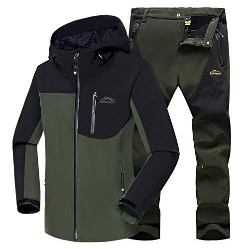 WANPUL - Completo da uomo in tessuto tecnico, giacca e pantaloni in softshell per attivit allaperto come trekking ed escursionismo Verde militare + verde militare. S