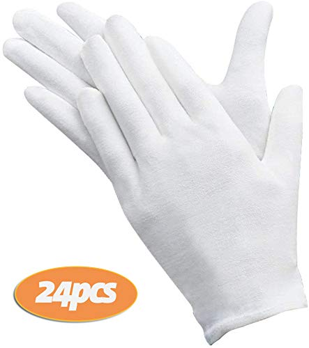 AYUQI 12 paia di guanti in cotone bianco, guanti in tessuto bianco, guanti in cotone di cura, comodi...