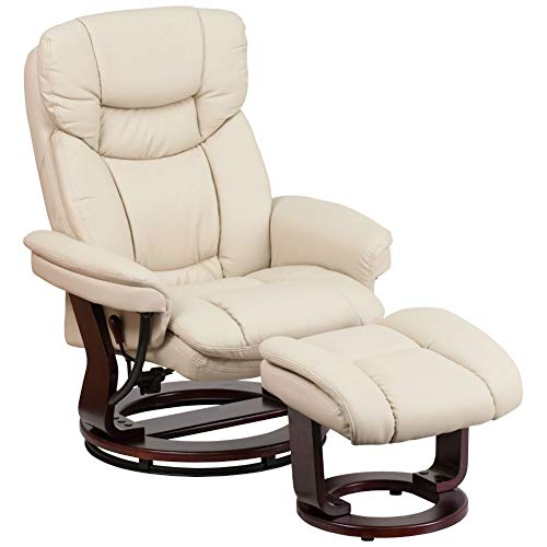 Flash Furniture Recliner Chair with Ottoman | Beige LeatherSoft Swivel Recliner Chair with Ottoman Footrest