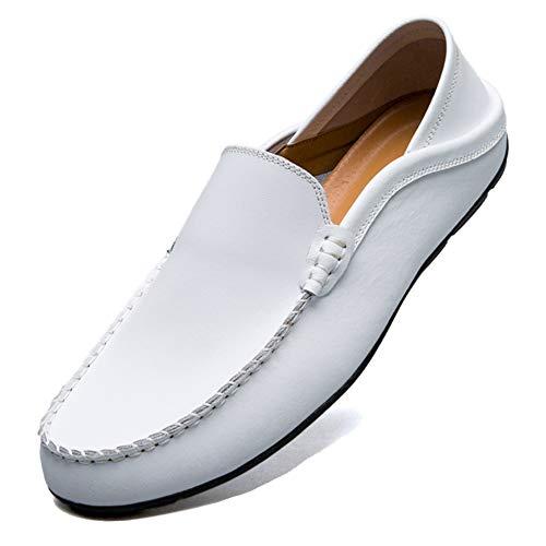Unitysow Mocasines Hombres Zapatos de Vestir Casuales Holgazanes Slip On Verano Plano Cuero Zapatos de Conducción Zapatillas Blanco 46EU