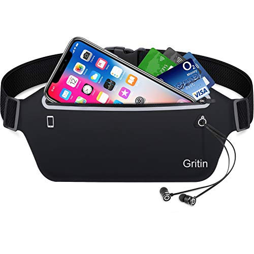 Gritin Running Belt, Waist Pack Fitness Belt With Headphone Hole - Soft Sweat-proof Fabric and Adjustable Elastic Strap for Waist Curve,Running and Other Outdoors
