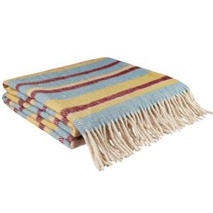 Wooleek Merino Wool Throw Blanket Striped Yellow Red Blue 66W82L Natural Lambs Wool for Bed Couch