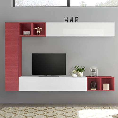 NOUVOMEUBLE Lizzano - Mobile da Parete per TV, Colore: Bianco Laccato e Rosso