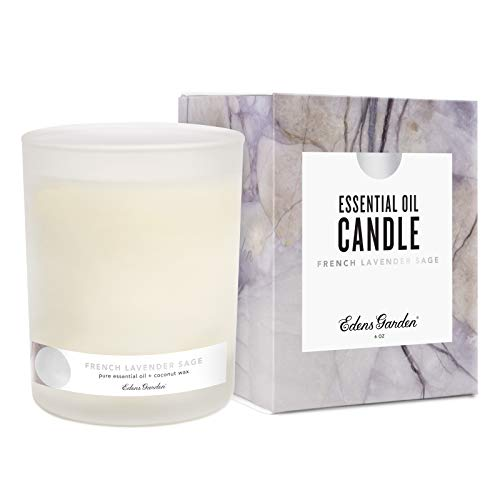 Edens Garden French Lavender Sage Coconut Wax Candle, All Natural & Made With Essential Oils (Hand-Poured in USA, Non-Toxic, Paraffin-Free, Luxury Gift Box) 40 Hour Burn, 6 oz
