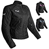 Women's Motorcycle Jacket For Women Stunt Adventure Waterproof Rain Jackets CE Armored Stella (All-Black, M)