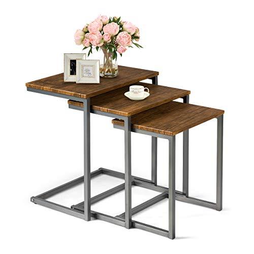 COSTWAY Beistelltisch 3er Set, Satztisch mit Metallgestell, Couchtisch Design, Kaffeetisch Wohnzimmertisch, Nachttisch fürs Bett