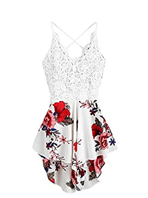 This is a jumpsuit not a dress,and has a little see-through. Material: 35% Cotton,65% Polyester, the fabric has no stretch, Size runs small, Fit: Loose order one or two size up from SIZE CHART Halter, v neck, crochet lace, floral print chiffon romper...