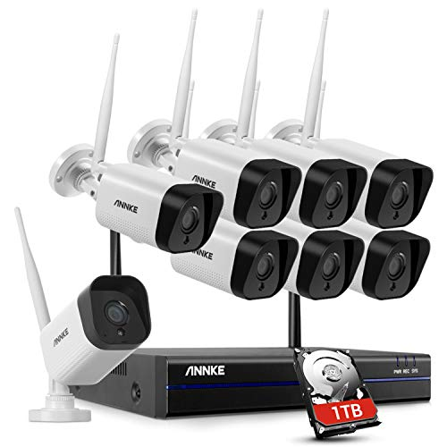 ANNKE 8CH 1080P FHD Sistema di Videosorveglianza NVR Wi-Fi Sistema Plug and Play H.264+ Videocamere IP Bullet 8×1080P Visione Notturna 100ft con Smart IR Accesso Remoto 1TB HDD