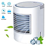 RAINBEAN 3 in 1 Air Conditioner Fan, USB Mini Evaporative Cooler Quiet Personal Space Cooling, Humidifier, Purifier, Desktop Table Fan with Night Light Suitable for Bedside/Office/Study Room/Baby Room