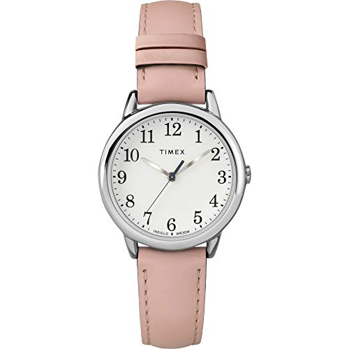 Timex Women's TW2U29700 Easy Reader 30mm Blush/Silver-Tone Leather Strap Watch