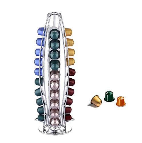 EXZACT Porta Capsule Compatibile con capsule caffè Nespresso Classic (40 pezzi) - Porta girevole per rack Pod (EX-NP021-40)