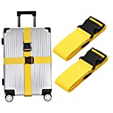 Luggage Straps Suitcase Belts Travel Accessories Bag Straps 2 PACK (Yellow)