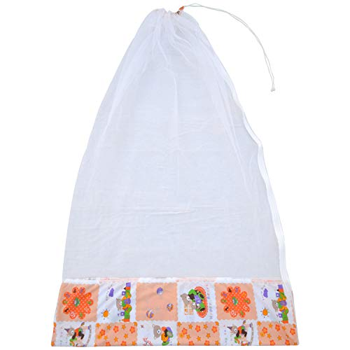 Younique Mosquito Net for Baby Cradle Swing/Mosquito Net for Baby Jhula with Side Zip Opening (0-3 yrs) (Org n Wht)