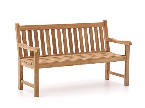Sunyard Stabile Wales Gartenbank 3 Sitzer   Teakholz Gartenbank 150 cm   Aus unbehandeltem massivem Teakholz, Sitzbank für Garten oder Balkon   Wetterfest, pflegeleicht und klassisches Aussehen