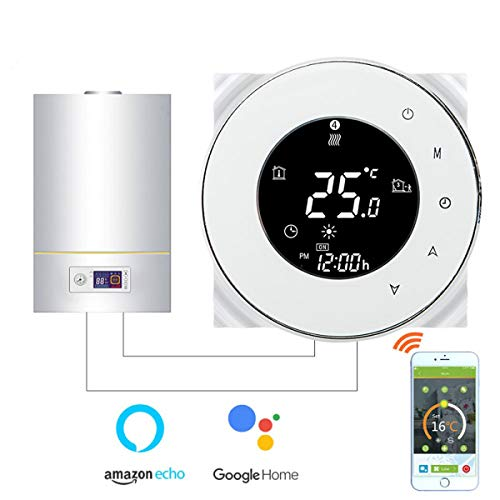 Thermostat WiFi pour chaudière gaz/eau,Thermostat intelligent Écran LCD Bouton tactile Rétro-éclairé programmable avec Alexa Google Home(NO google assistant) and Phone APP-White APP-Rond/Blanc