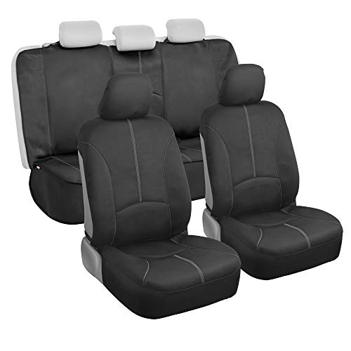 Motor Trend SpillGuard Waterproof Front and Rear Car Seat Covers, Full Set  Universal Fit Neoprene Foam Protectors with Extended Bench Side Coverage for Auto, Truck, Van, and SUV, Gray (M264)