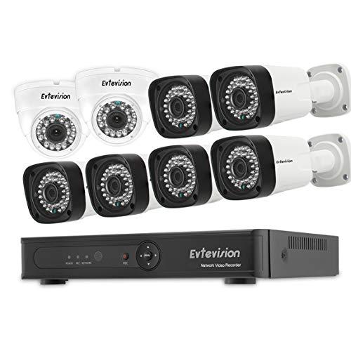 Evtevision 8 canales 1080P POE NVR Kit de cámaras de vigilancia + cámara IP de 8 piezas 2MP, alarma de correo electrónico con detección de movimiento IP66, reproducción inteligente, acceso remoto
