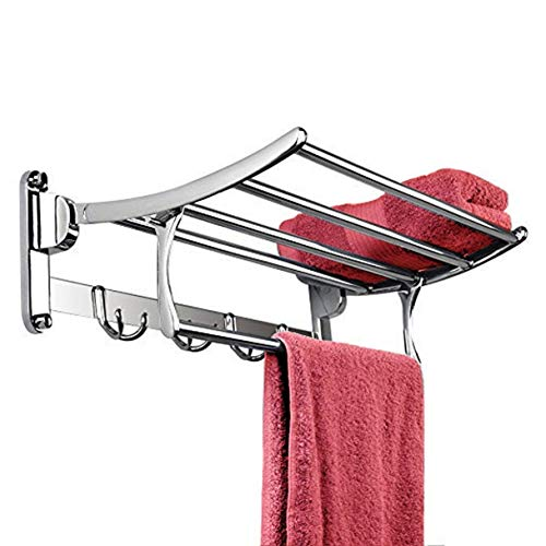 Plantex Gold Stainless Steel Folding Towel Rack for Bathroom/Towel Stand(24 Inch-Chrome Finish)