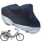 Premium Adult Tricycle Cover Heavy Duty Fabric Fits Schwinn, Westport and Meridian- Protect Your Bike from Rain, Dust, Debris, and Sun when Storing Outdoors or Indoors - in Black HW400