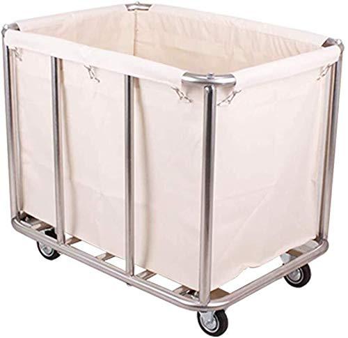 GJX Wäschekorb, Servierwagen, robuster Wäschesortierer, Organizer mit Rollen, rollbarer Wäschesammler mit abnehmbaren Taschen, Edelstahl-Halterung (Farbe: Beige)