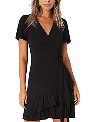 FASHION AND COMFORTABLE: Soft and breathable fabric allows it comfy to touch and wear. Unique wrap front and ruffle hem design give you elegant and charming look FEATURES: Women Summer Mini Dresses Designed with Surplice V-Neck, Wrap Front, Tie in th...