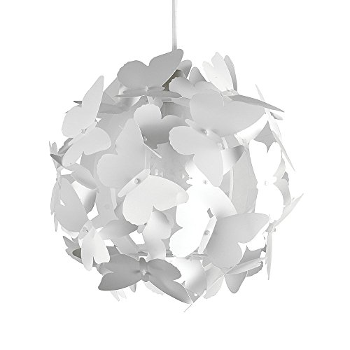 Belle Moderne et Lumineux Lustre Pendentif. Papillons blanches sur un Boule. Abat-jour pour Chambres des Enfants ou Décor contemporain