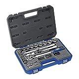 Alyco 190240 - Juego de llaves de vaso 1/2' en pulgadas + puntas + adaptadores 47 piezas en maletin