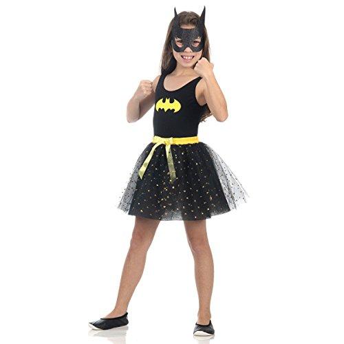 Fantasia Bat Girl Dress Up Infantil Sulamericana Fantasias Preto/Amarelo P 3/4 Anos