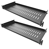 Jingchengmei 2 PCS of 1U Server Rack Shelf - Universal Vented Cantilever Tray for 19' Network Equipment Rack & Cabinet - Cold Rolled Steel - 44lb - 8' Deep-Disassembled for Safety
