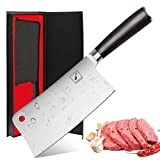Imarku Cleaver Knife 7 Inch German High Carbon Stainless Steel Chopper Knife for Home Kitchen and Restaurant with Comfortable Handle (7-inch Cleaver Knife)