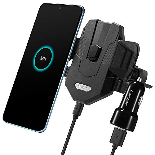 Spigen Wireless Car Charger 10W Qi Certified All-in-One, One-Tap tech, CD Slot Mount, Fast Wireless car Charger Phone Holder Works with iPhone & Galaxy (QC Car Charger Included)