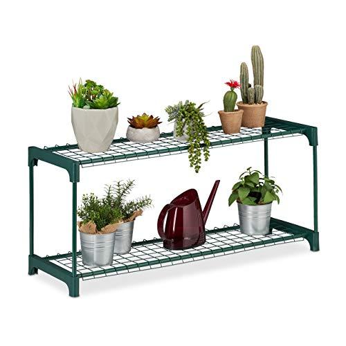 Relaxdays Pflanzenregal, 2 Ablagen, für Blumen-& Pflanzentöpfe, Indoor, Metall & Kunststoff, HBT 40,5x91x28,5 cm, grün, 1 Stück