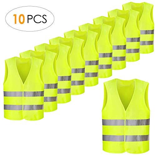 FEMOR Warnwesten 10 Stück Auto Gelb 360 Grad Reflektierende Sicherheitswesten Pannenwesten für Erwachsene Fahrrad Waschbar Knitterfrei(70x 46cm)