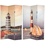 Oriental Furniture 6 ft. Tall Double Sided Lighthouses Canvas Room Divider