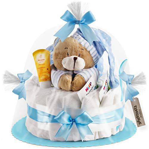 Timfanie® Windeltorte | Spieluhr Bär | 1-stöckig | baby-blau | Windeln Gr. 2 (Baby 4-8 Kg)